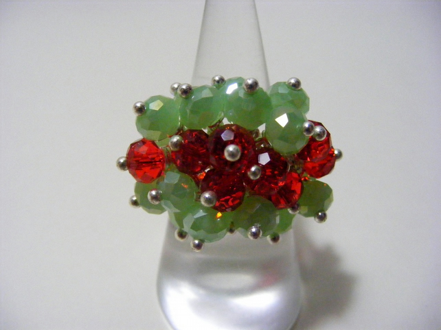 Red and Green Adjustable Crystal Ring
