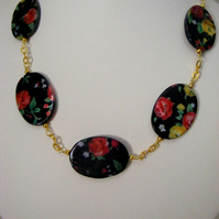 Flower Print Chain Necklace