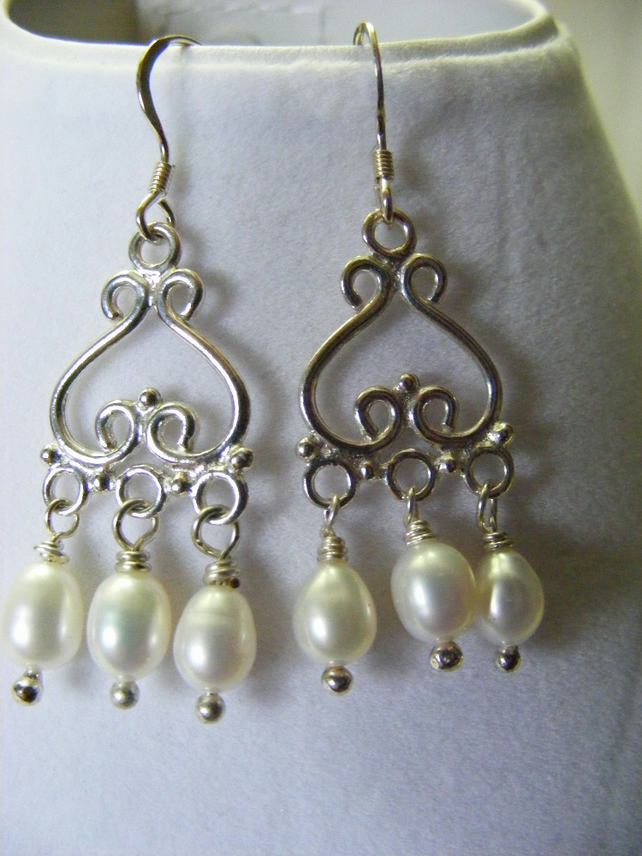 White Freshwater Pearl Drops and Sterling silver Earrings
