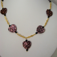 Purple Print Shell Heart Necklace
