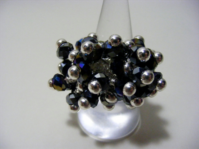 Black AB Cluster Adjustable Ring