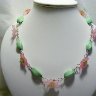 Green and Pink Flower Necklace