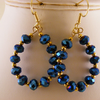 Blue Iris Hoop Earrings