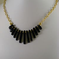 Black Agate and Gold Chain Necklace