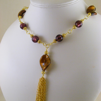 Brown and Purple Tassel Necklace