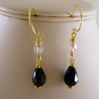 Black and Clear Drop Earrings