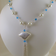 Turquoise, White and Silver Pendant Tassel Necklace