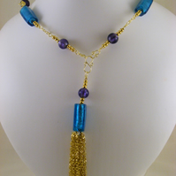 Purple and Teal Tassel Necklace