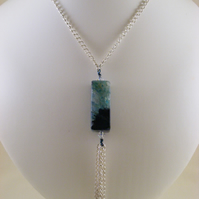 Black and Green Agate Gemstone Necklace