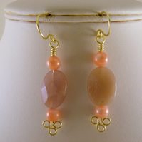Sunstone and Mother of Pearl Earrings