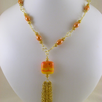 Orange and Gold Pendant Necklace