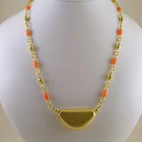 Gold Pendant with Coral Chain Necklace.