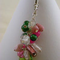 Pink Green and Clear Bag Charm