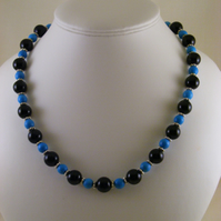 Onyx and Turquoise Gemstone Necklace