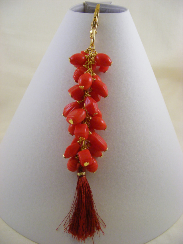 Red Glass and Tassel Bag Charm