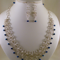 Blue Iris and Silver Chainmaille Jewellery Set