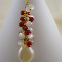 Red and Cream Bag Charm