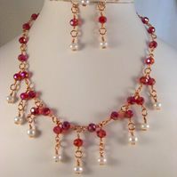 Freshwater Pearl and Red AB Crystal Jewellery Set