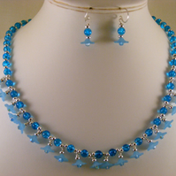 Shades of Blue Lucite Flower Jewellery Set
