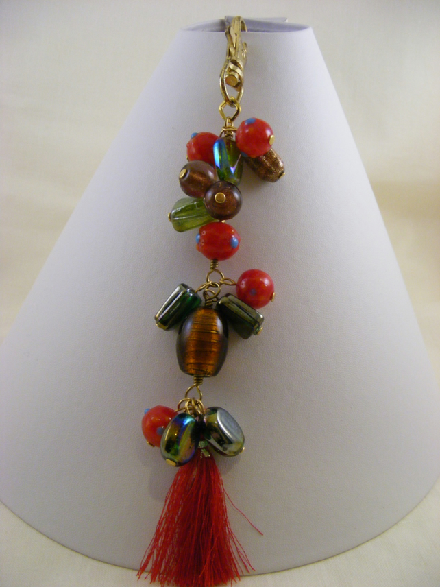 Red, Brown and Green Tassel Bag Charm