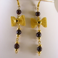 Garnet Bow Earrings