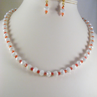 White and Red Crystal Jewellery Set