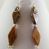 Brown Diamond Shape Earrings