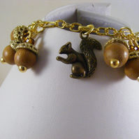 Acorns and Squirrel Charm Bracelet