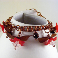 Red and Brown Flower Charm Bracelet