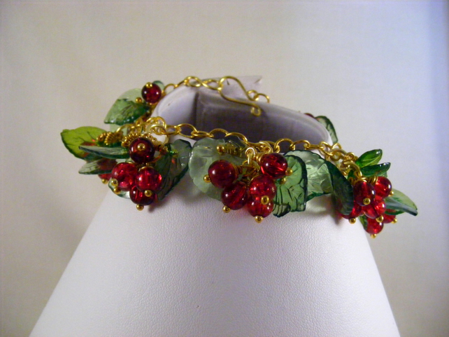 Red Berries and Green Leaf Charm Bracelet