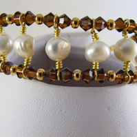Freshwater Pearl and Smoked Topaz Crystal Bracelet