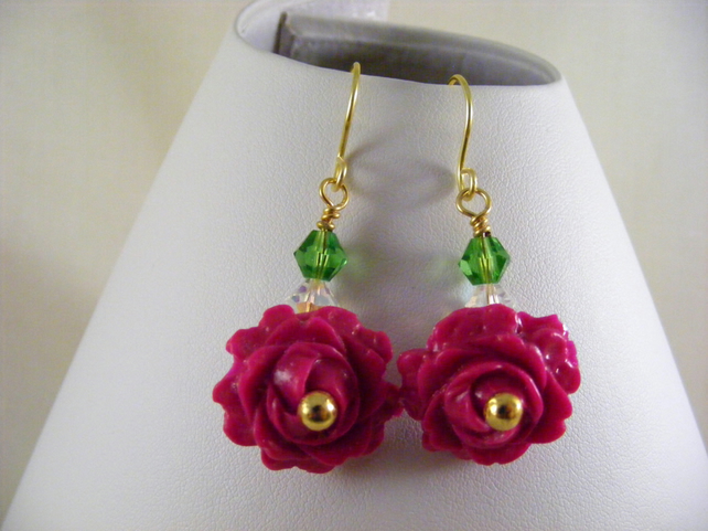 Dark Pink Polymer Rose Earrings.