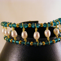 Blue Zircon Crystal and Freshwater Pearl Bracelet