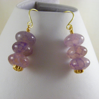 Lilac Crackled Agate Earrings