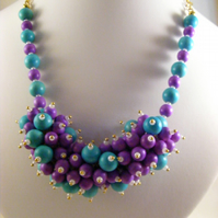 Turquoise and Lilac Bubble Necklace