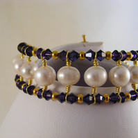 Purple Velvet and Freshwater Pearl Crystal Bracelet.