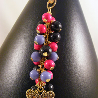 Black, Purple and Pink Butterfly Bag Charm.
