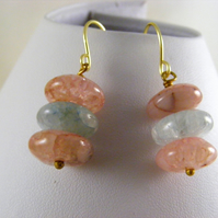 Pink and Blue Agate Earrings