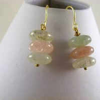 Pale Green and Pink Agate Earrings