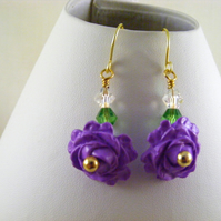 Lilac Polymer Clay Rose Earrings.