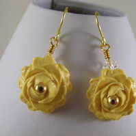 Yellow Polymer Clay Rose Earrings.