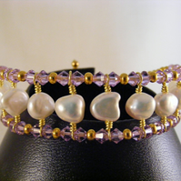 White Freshwater Pearl and Violet Crystal Bracelet