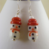 Red and White Lamp Work Snowmen Earrings