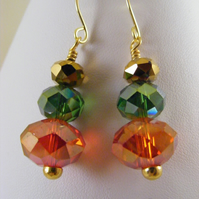 Red Green and Gold Crystal Earrings