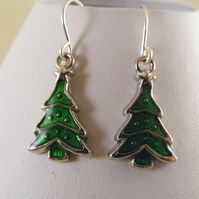 Green Christmas Tree Earrings