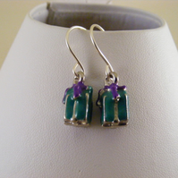 Green Christmas Present Earrings