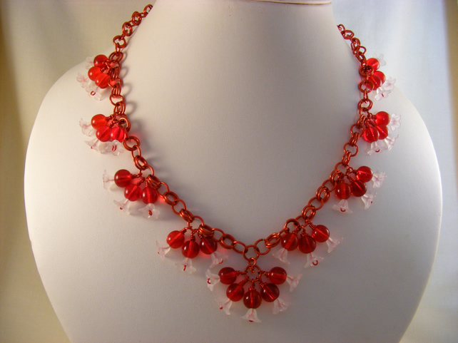 Red And White Flower Necklace Folksy