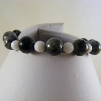 Black Larvikite and White Shell Bracelet