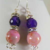 Pink and Purple Gemstone Earrings.