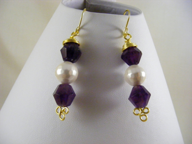 Amethyst and Shell Pearl Earrings